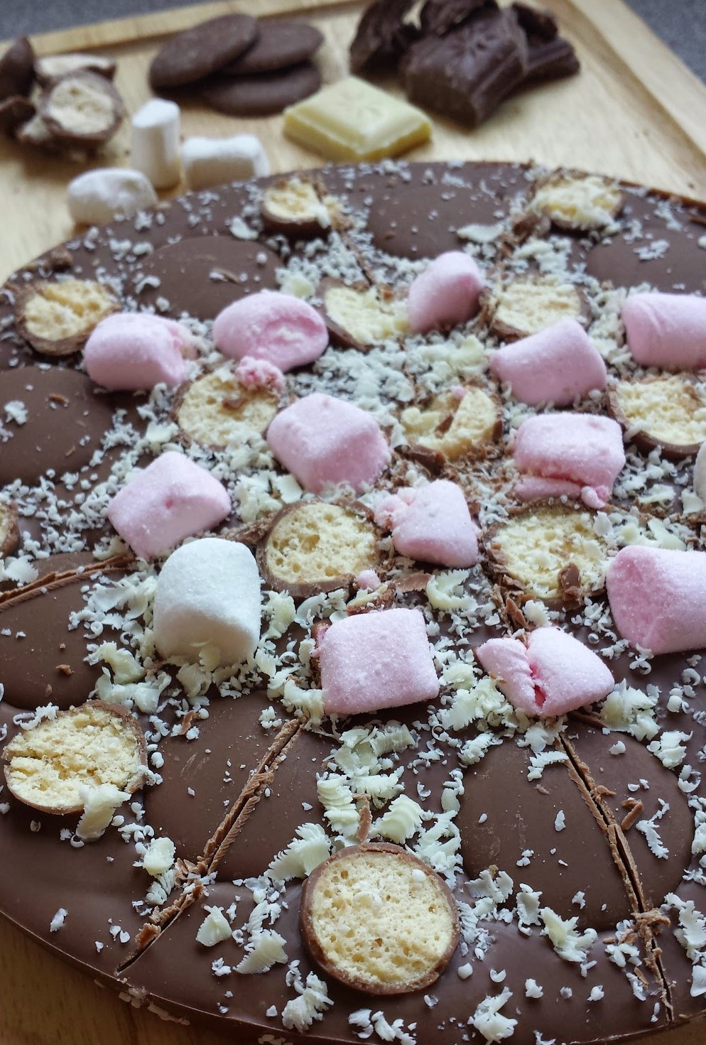 Rocky road chocolate pizza close up