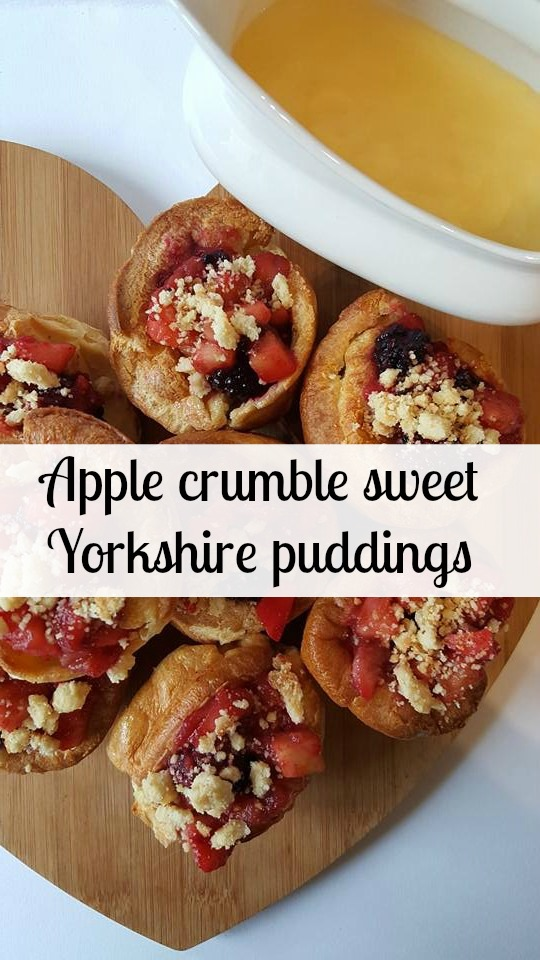 Apple crumble sweet Yorkshire puddings Pin It