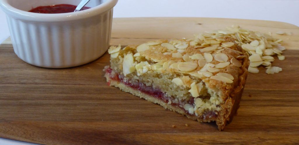Bakewell tart with lemon pastry after cutting