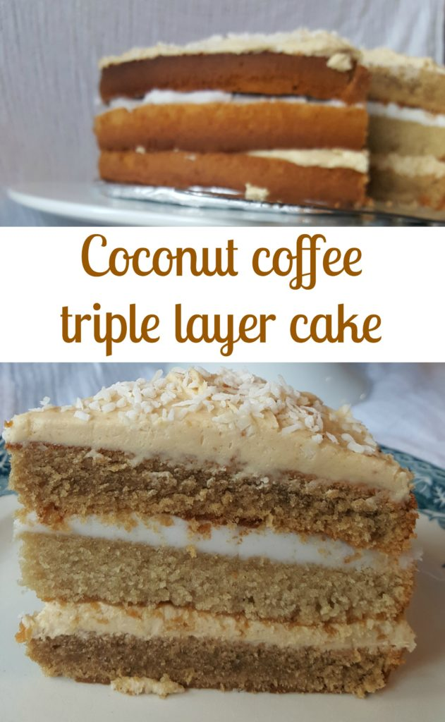 Coconut coffee triple layer cake Pin It