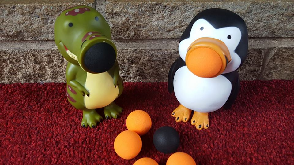 Penguin popper and dino popper from Wicked Uncle