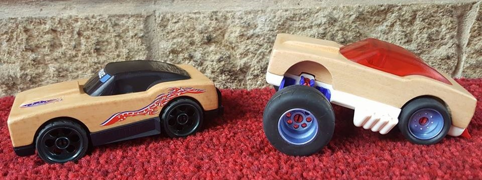 Wooden Police Car and Patriot Dragster Wooden Car from Wicked Uncle