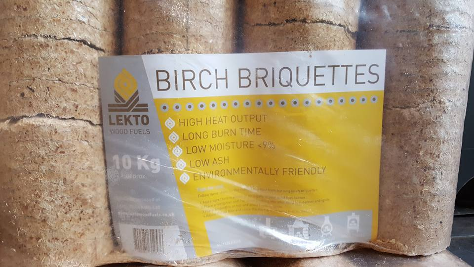 Lekto Woodfuels birch briquettes/logs