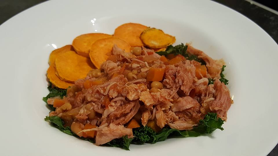 Slow cooker smoky gammon stew served