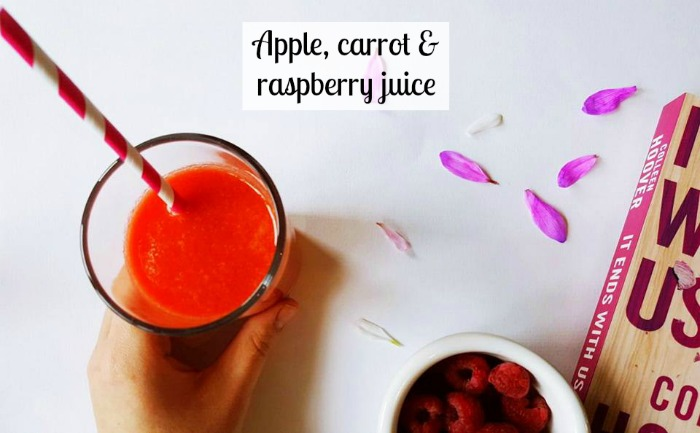Apple, carrot and raspberry juice recipe.