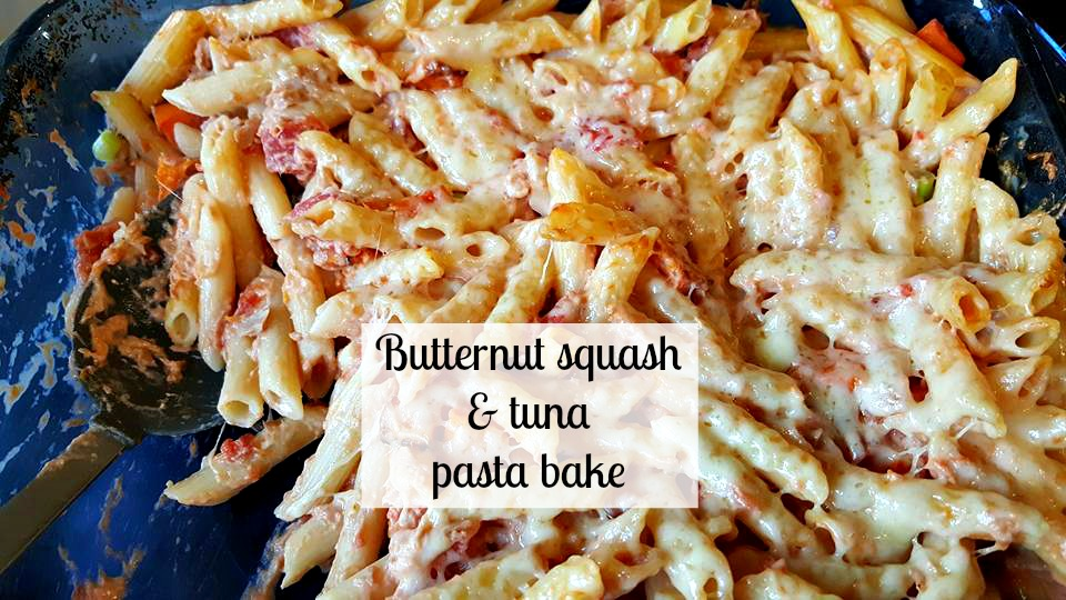 Butternut squash and tuna pasta bake