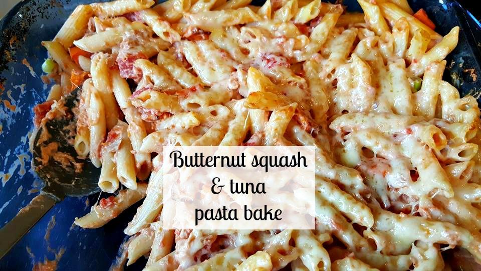 Butternut squash and tuna pasta bake