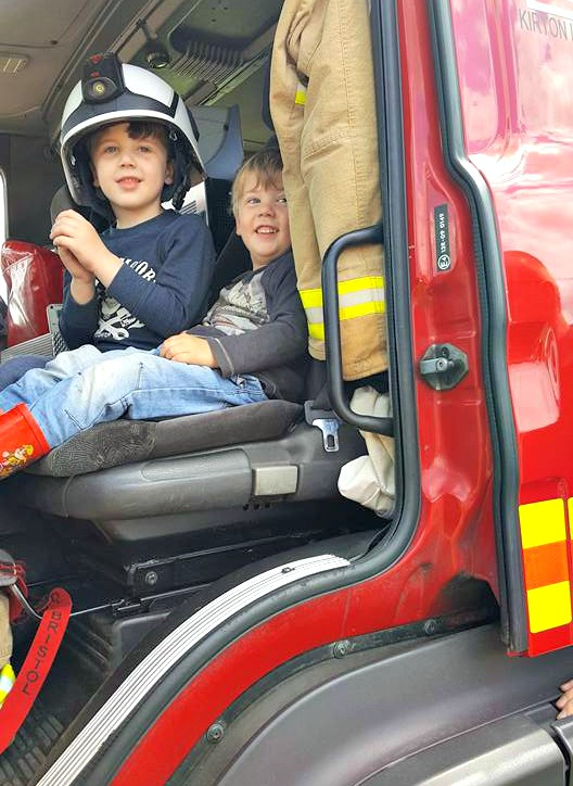 Boys in fire engine