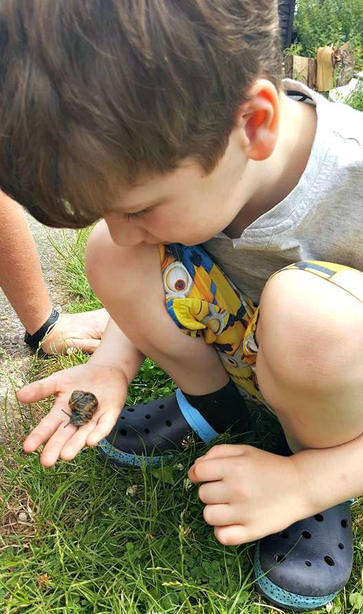 Holding a snail