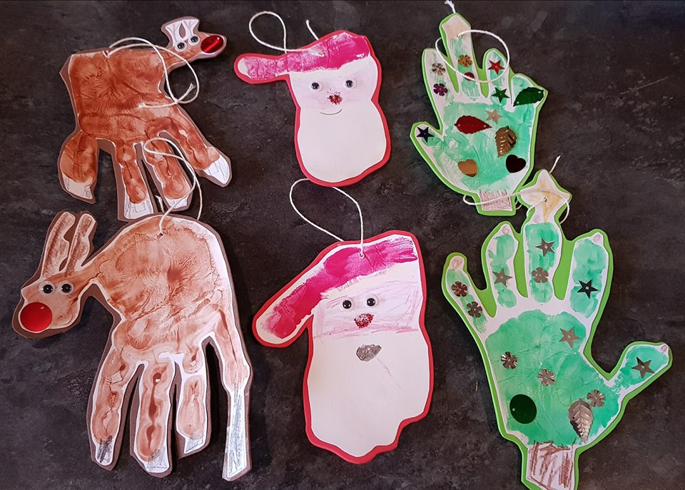 Christmas crafts - handprint tree decorations