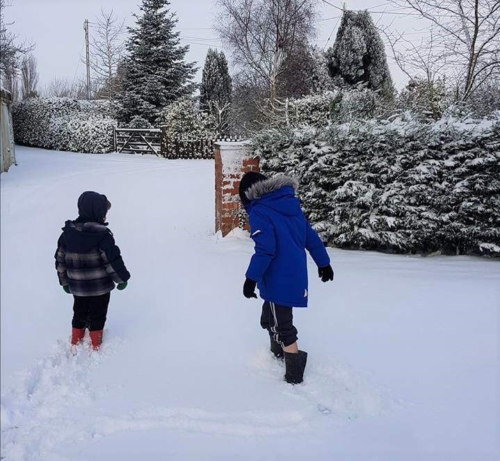 Snow, deep snow, boys in the snow, children in the snow