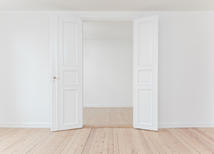 French doors, white