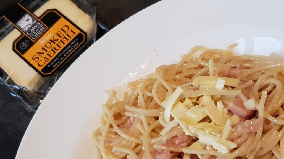 Smoked Caerffili on pasta
