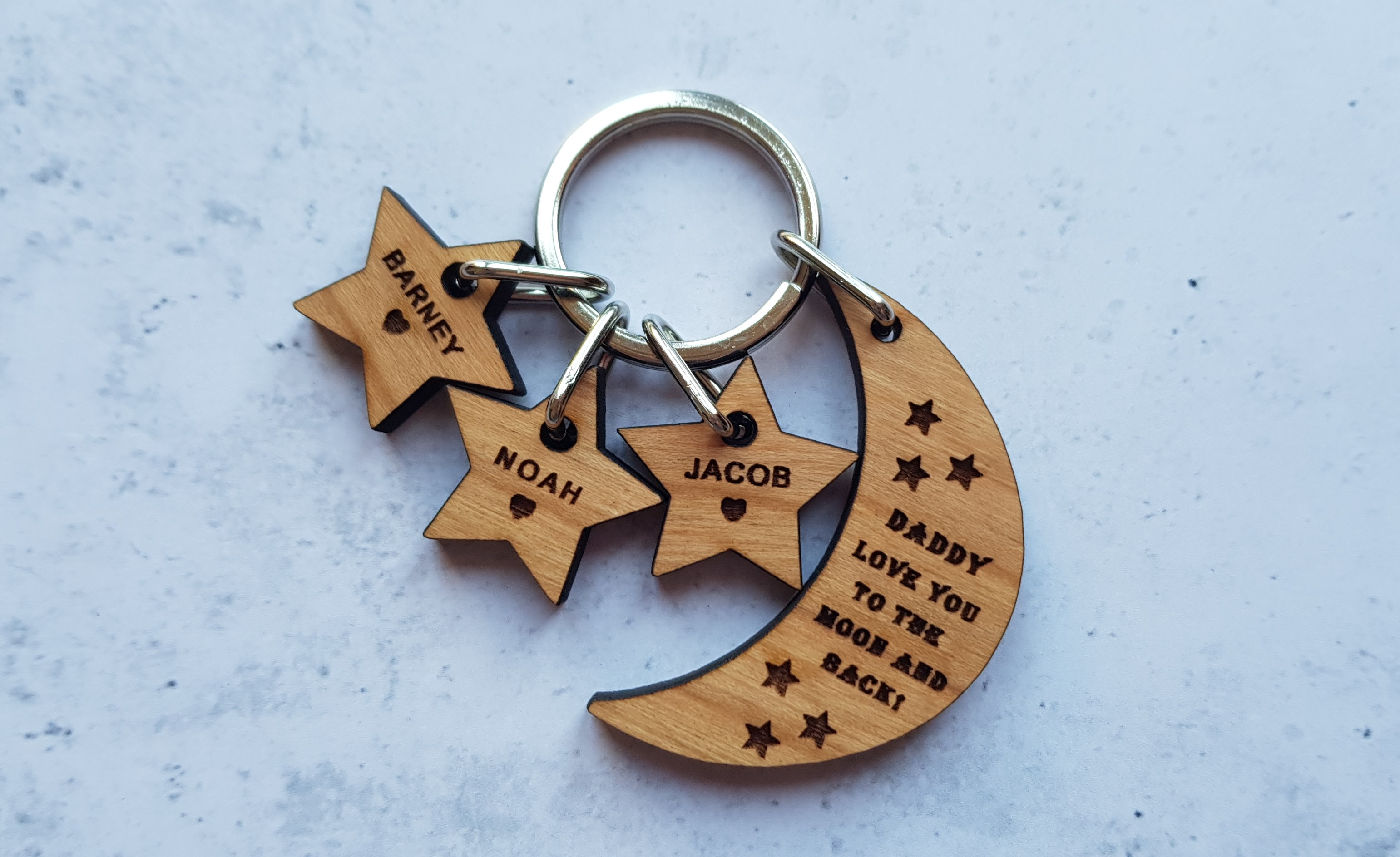 Giftpup personalised wooden moon & stars keyring