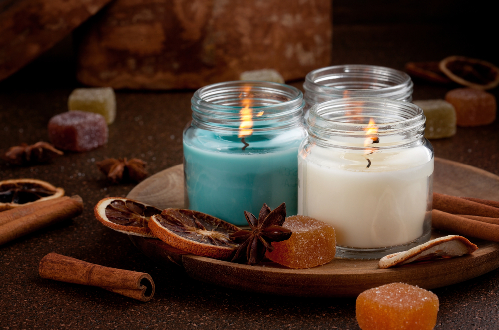 Blue and white candles