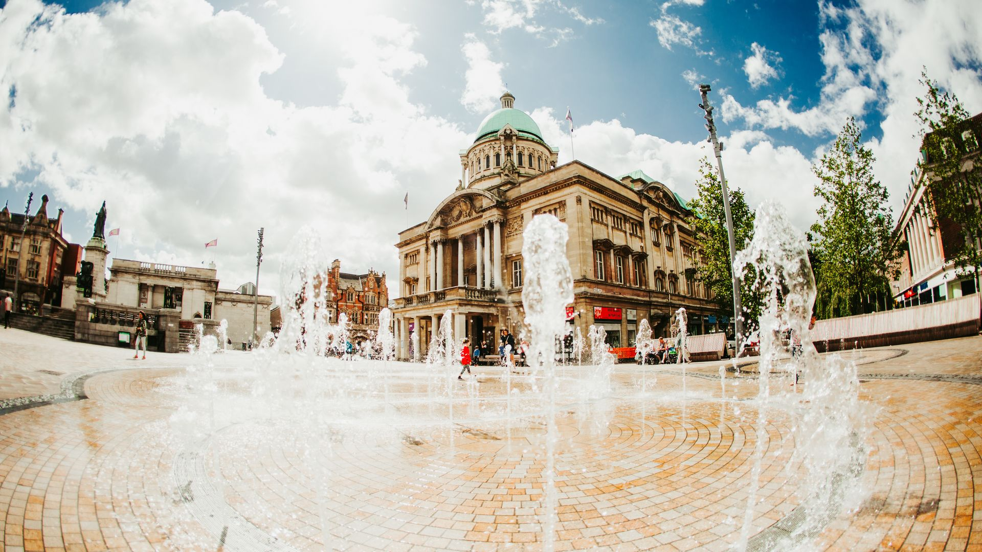 Hull Victoria Square Fountain and City Hall