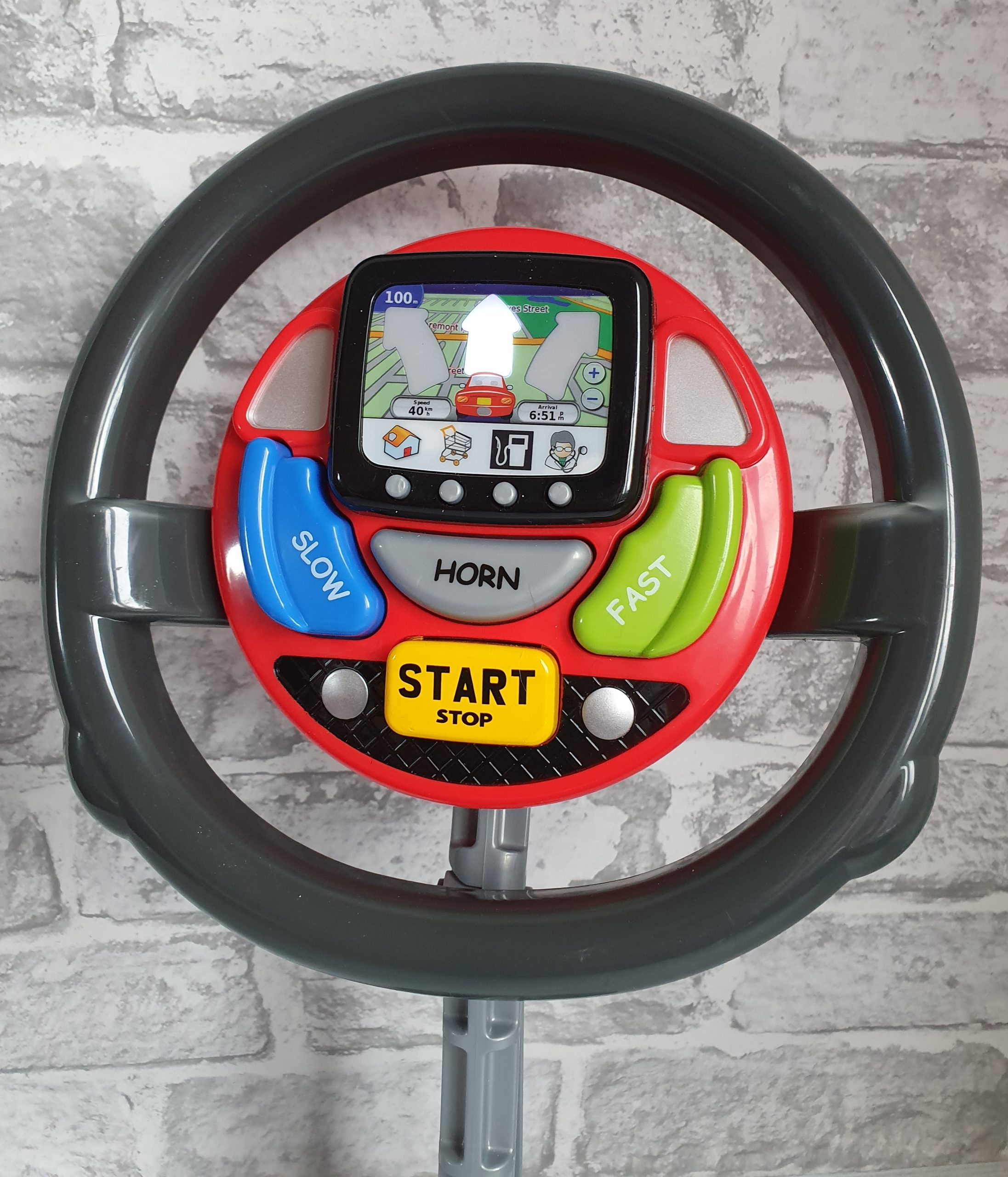 Casdon Sat Nav Steering Wheel with light on