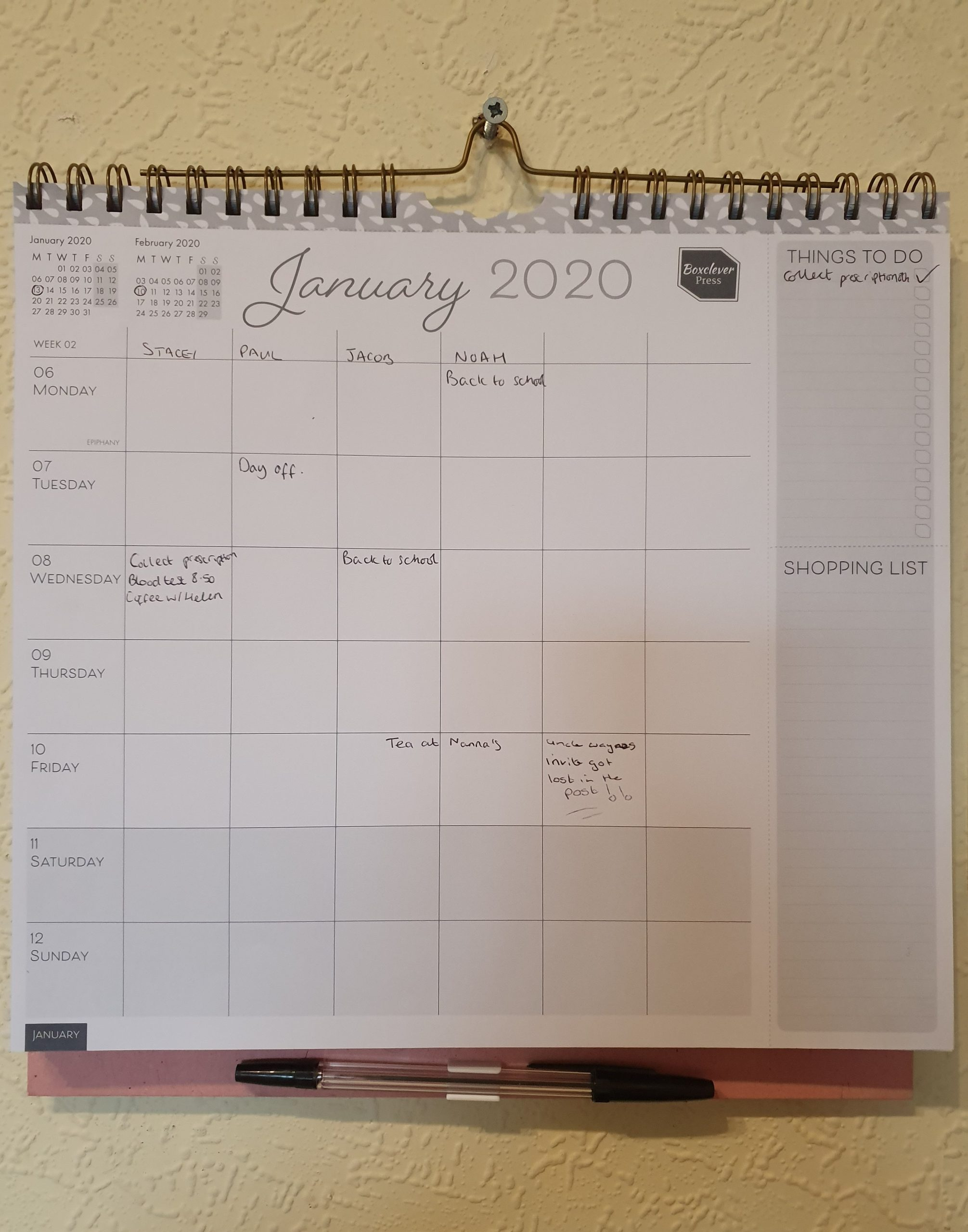Boxclever Press Family Planner Calendar on wall