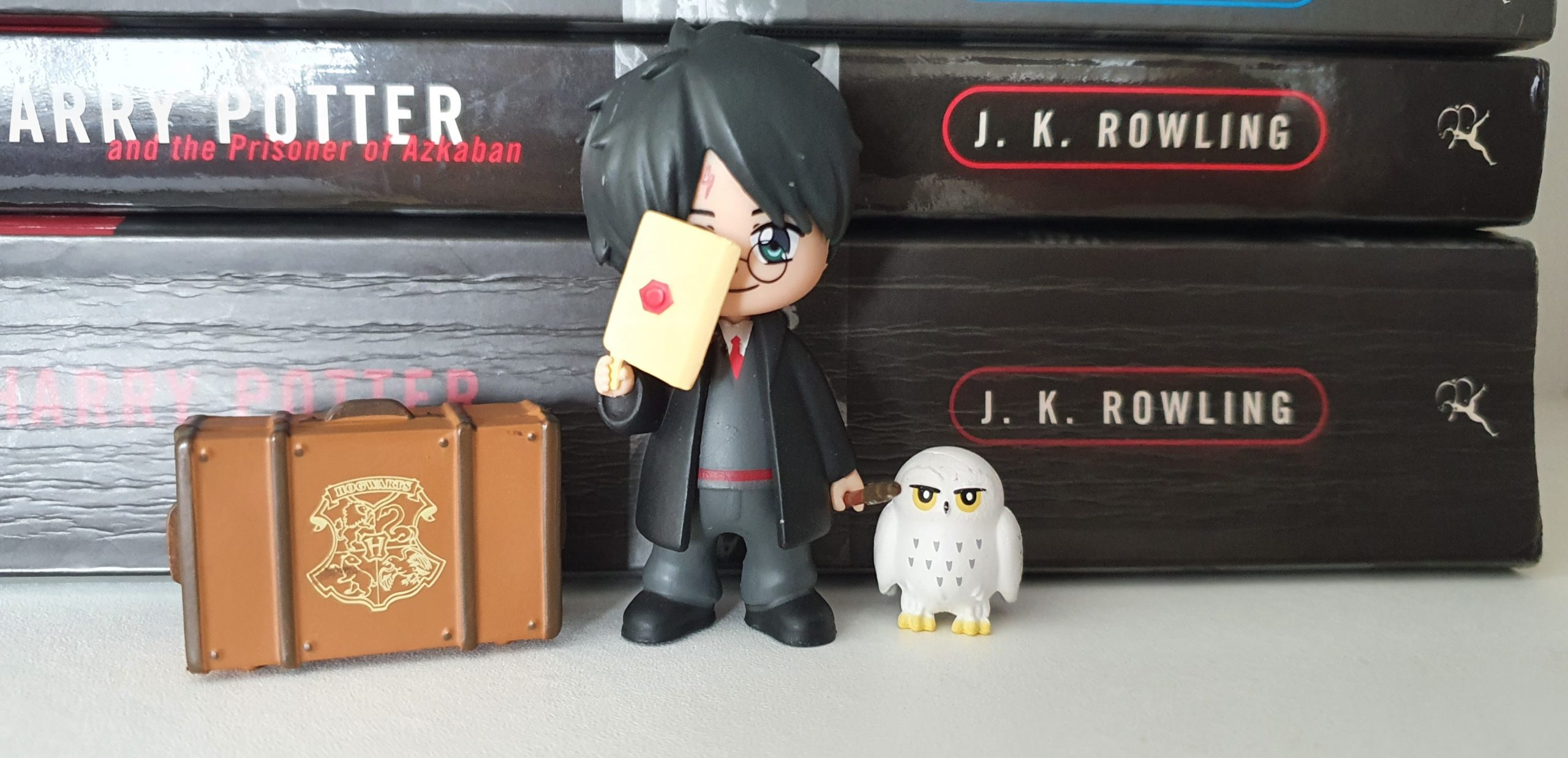 Magical Capsules contents (Harry Potter figure, briefcase, and Hedwig) on shelf in front of Harry Potter books