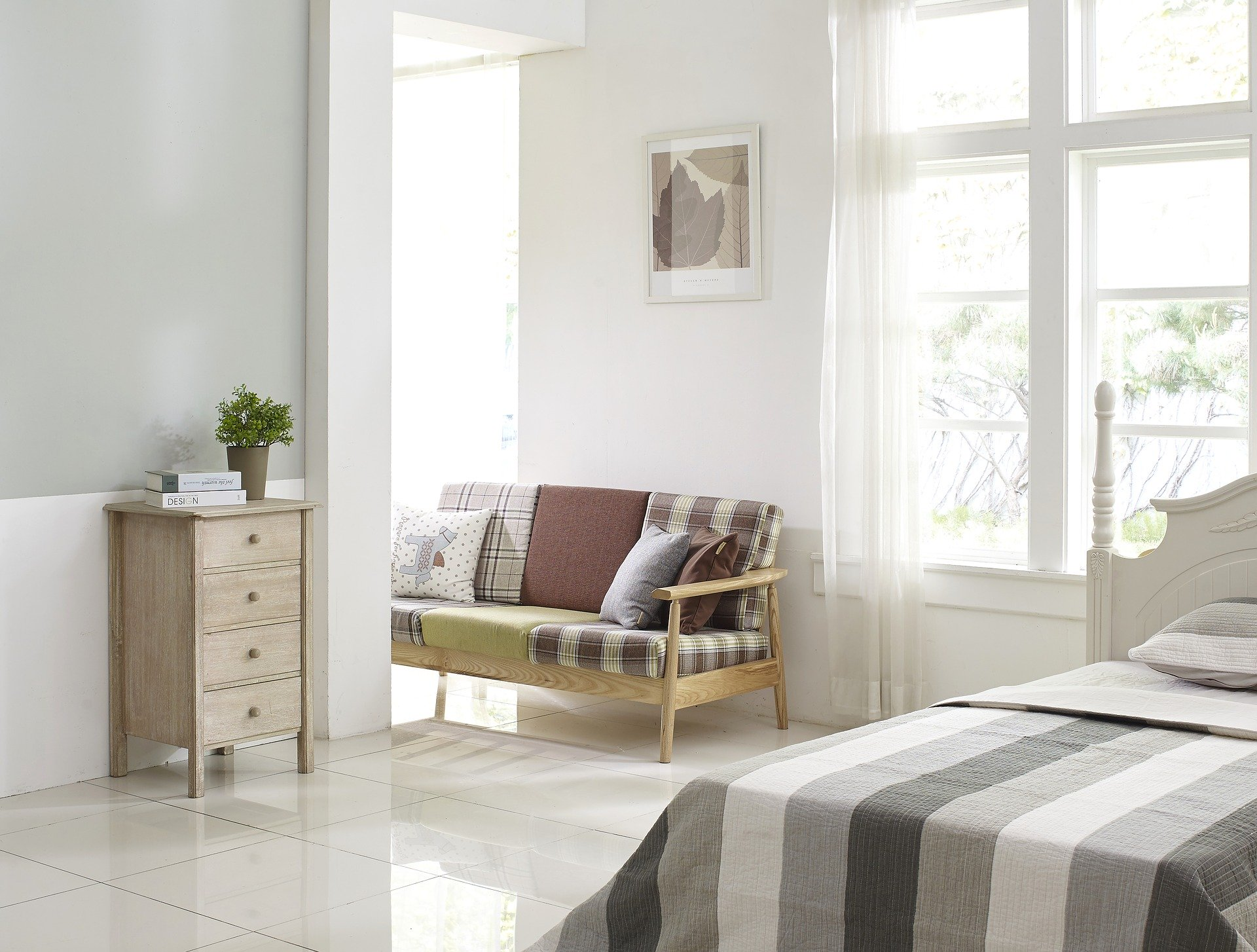 bedroom with a neutral colour scheme, Turning Your Spare Room Into An Inviting Guest Room