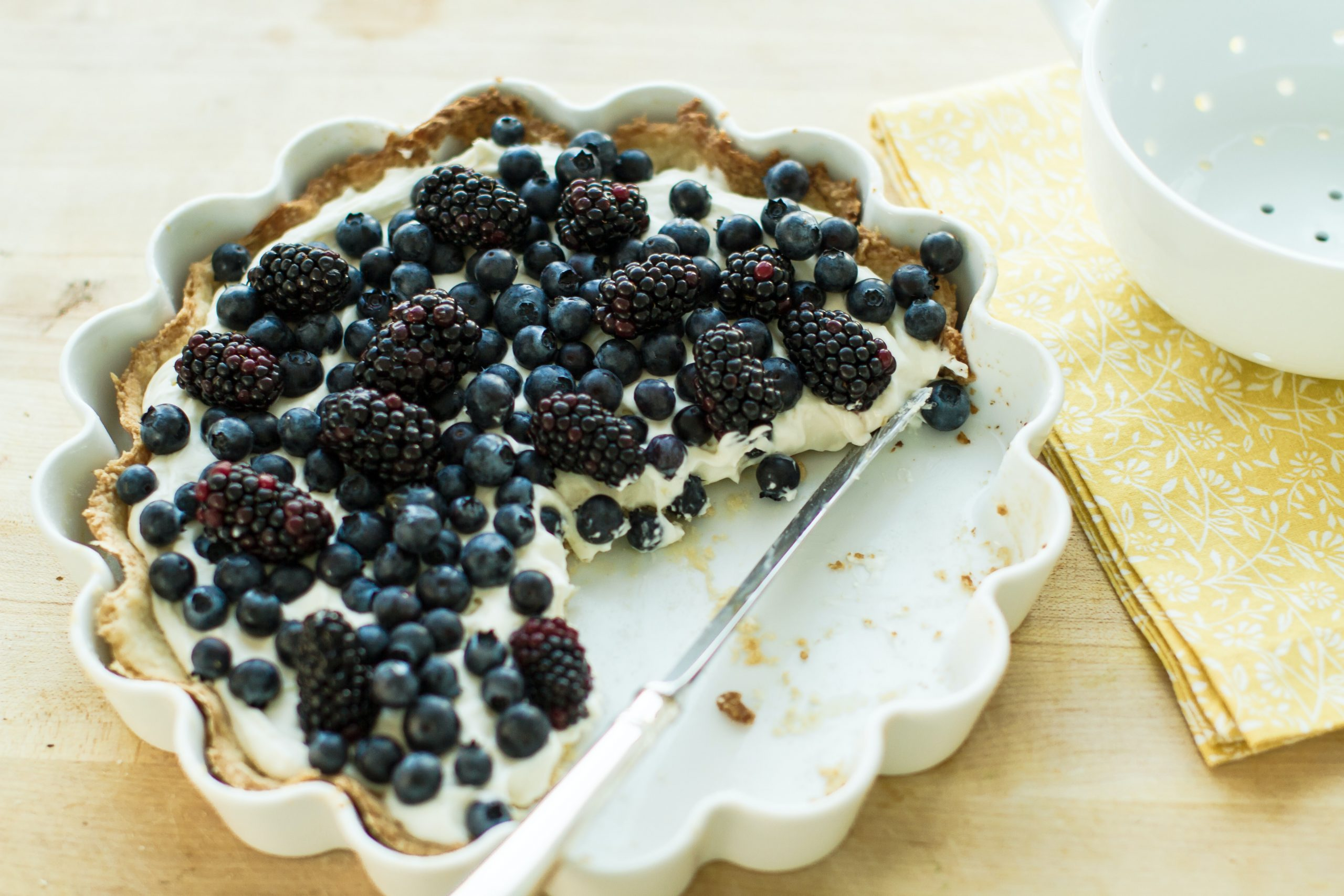 blueberry tart in a dish, with a piece missing; The World Of Cooking Is Magical, A You Looking For A New Career